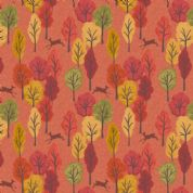 Lewis & Irene Autumn in Bluebell Wood - 5522 - Deer & Trees on Orange  - A250.3 - Cotton Fabric
